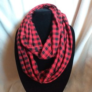 Black and red checkered infinity scarf